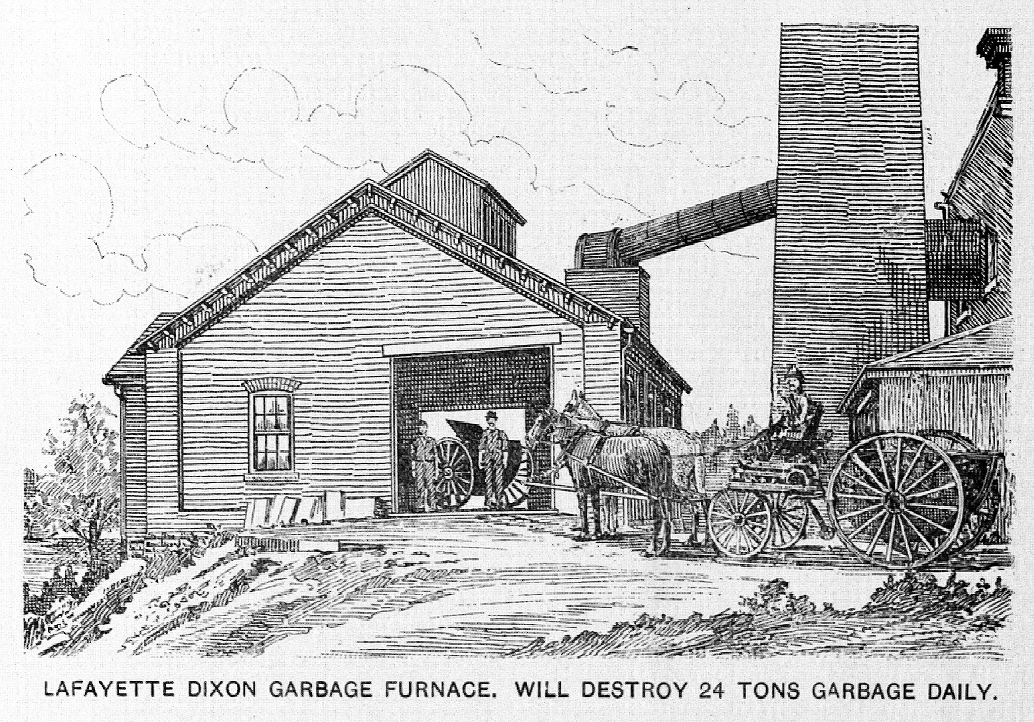 Line Drawing Of Garbage Furnace Facility And Horse Drawn Garbage