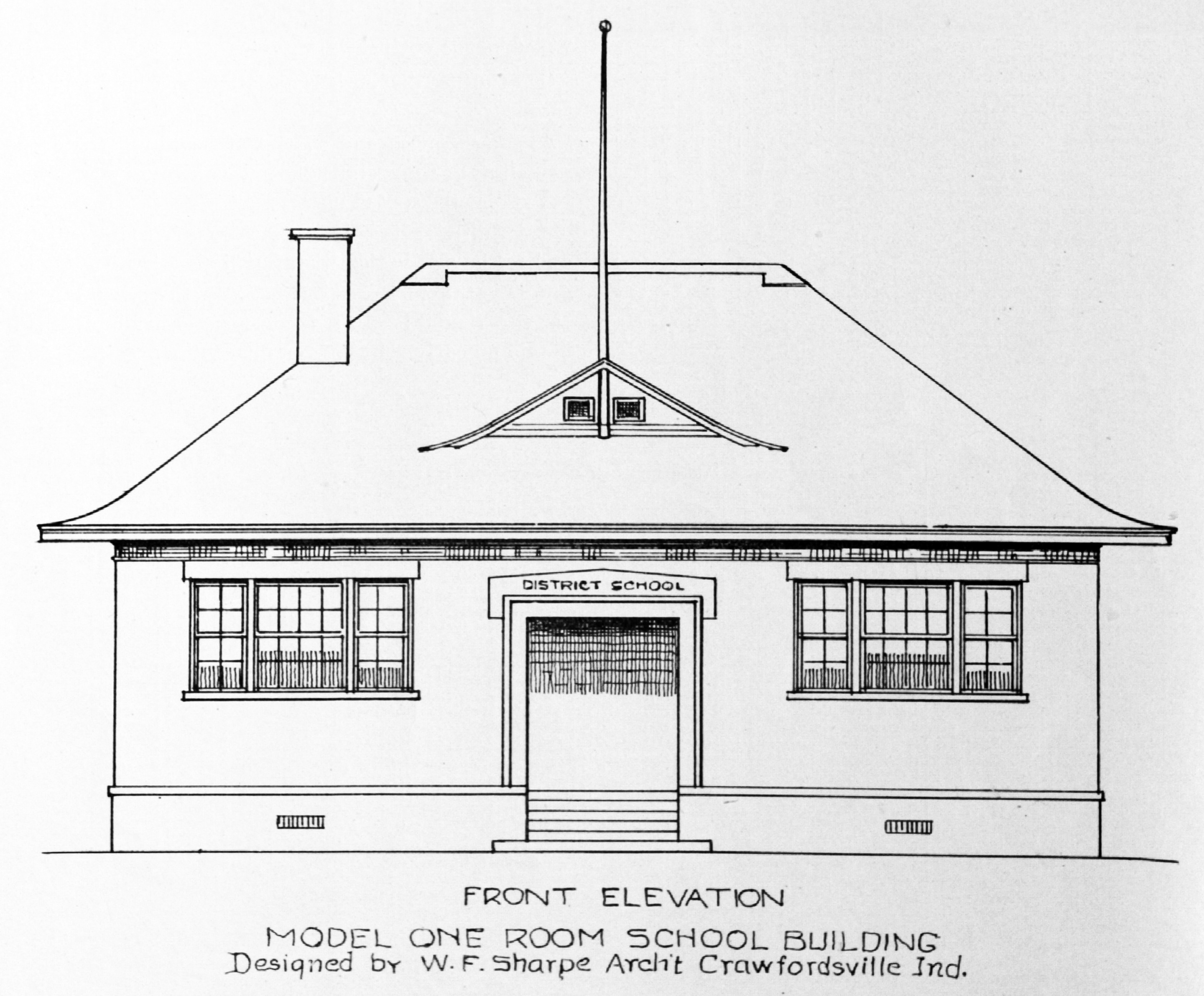 Drawing of front of schoolhouse